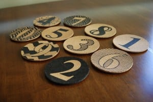 DIY Cork Coasters with Numbers