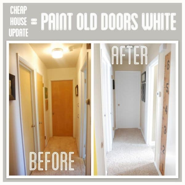 Hallway transformation with painted trim and doors for Wood doors painted trim