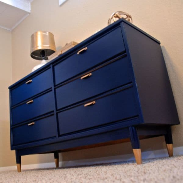 Navy Spray Painted Dresser with Gold Dipped Legs