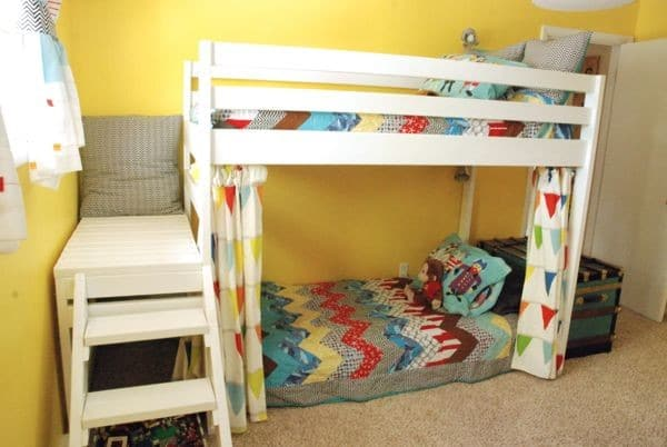 diy kids loft bunk bed with stairs. Black Bedroom Furniture Sets. Home Design Ideas