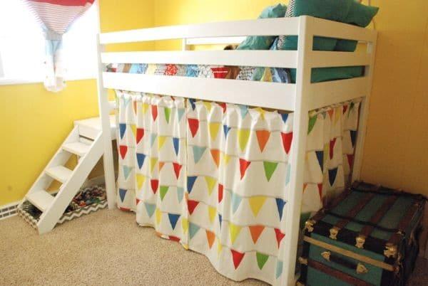 Kids Loft Bed with Curtain Around It