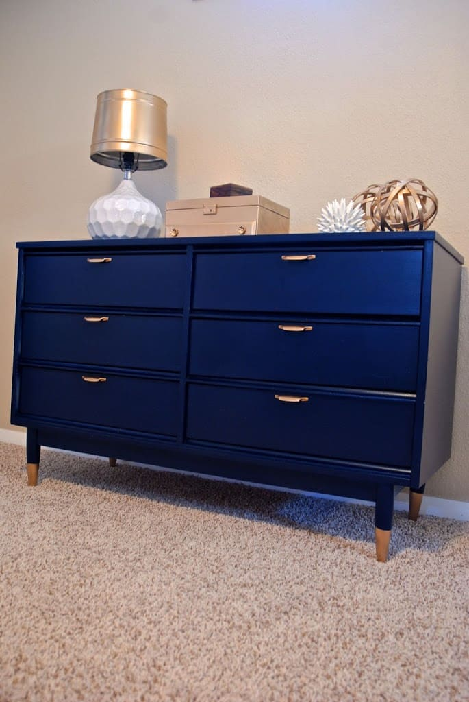 Navy mid century dresser re do with gold dipped legs for Navy blue painted furniture