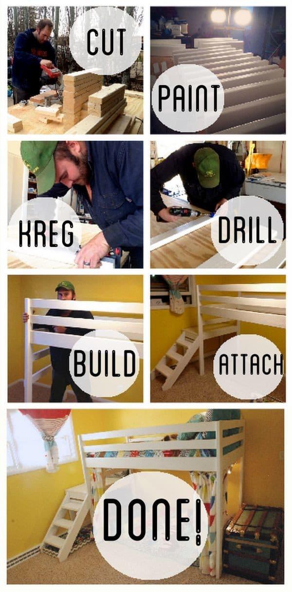 How to Build DIY Kids Loft Bunk Beds