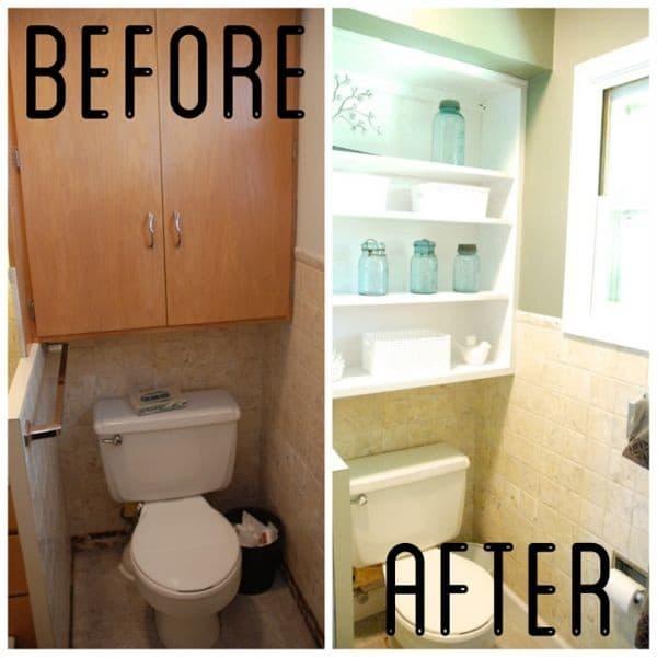 Open Shelving Over Toilet
