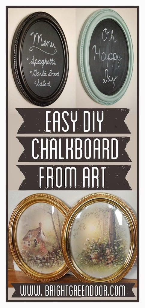 Easy DIY Chalkboard from Framed Art
