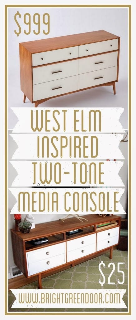 West Elm Inspired Two Tone Media Console