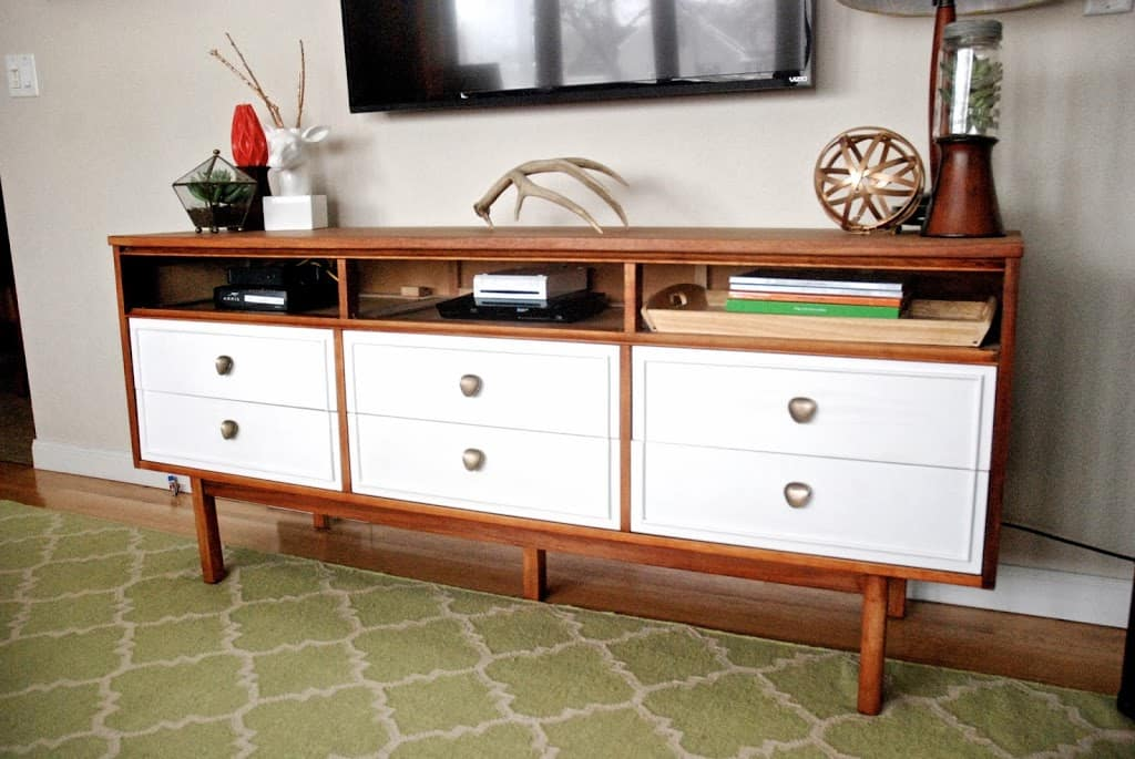 Vintage Dresser used as a entertainment center