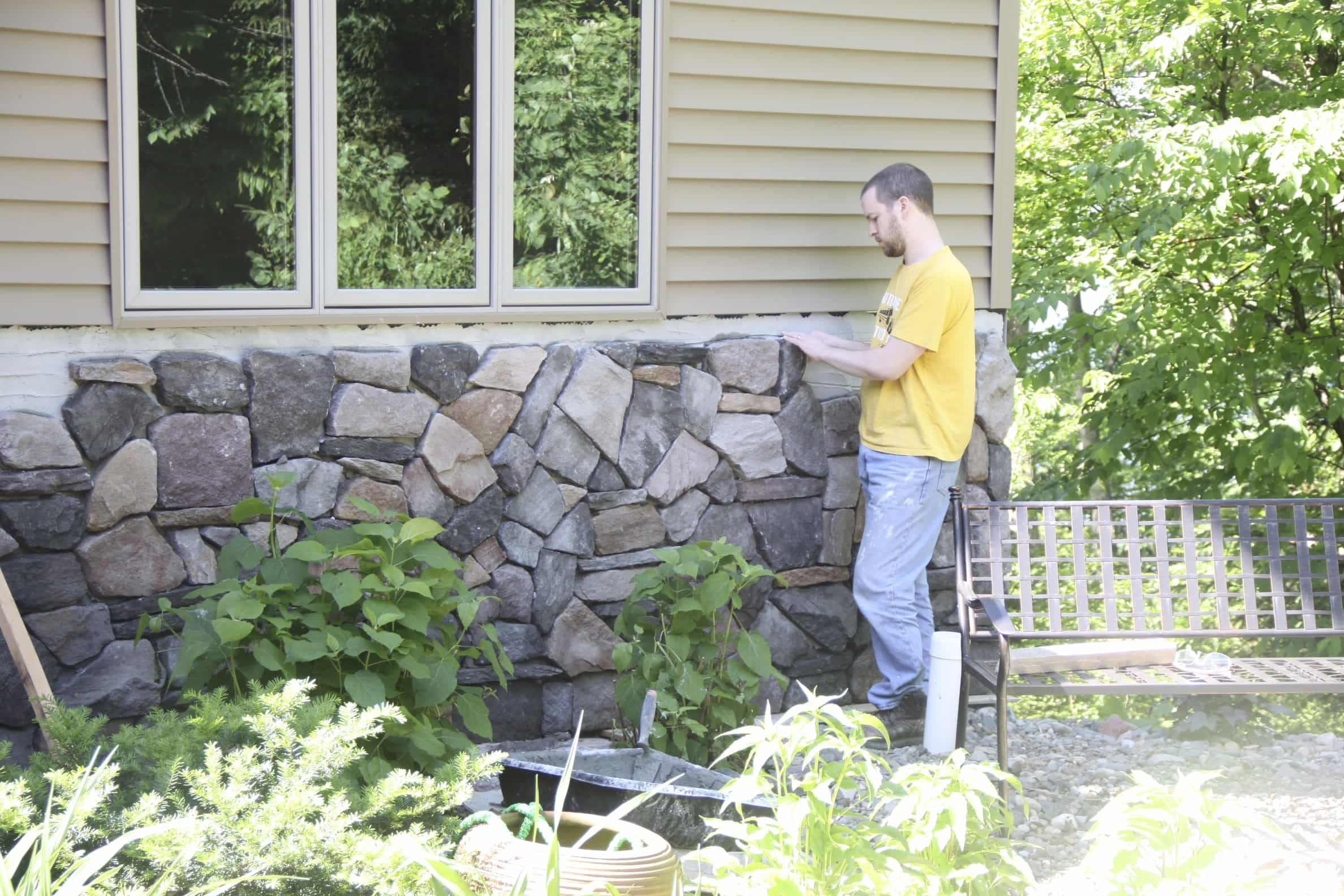 DIY Stone Veneer on Home