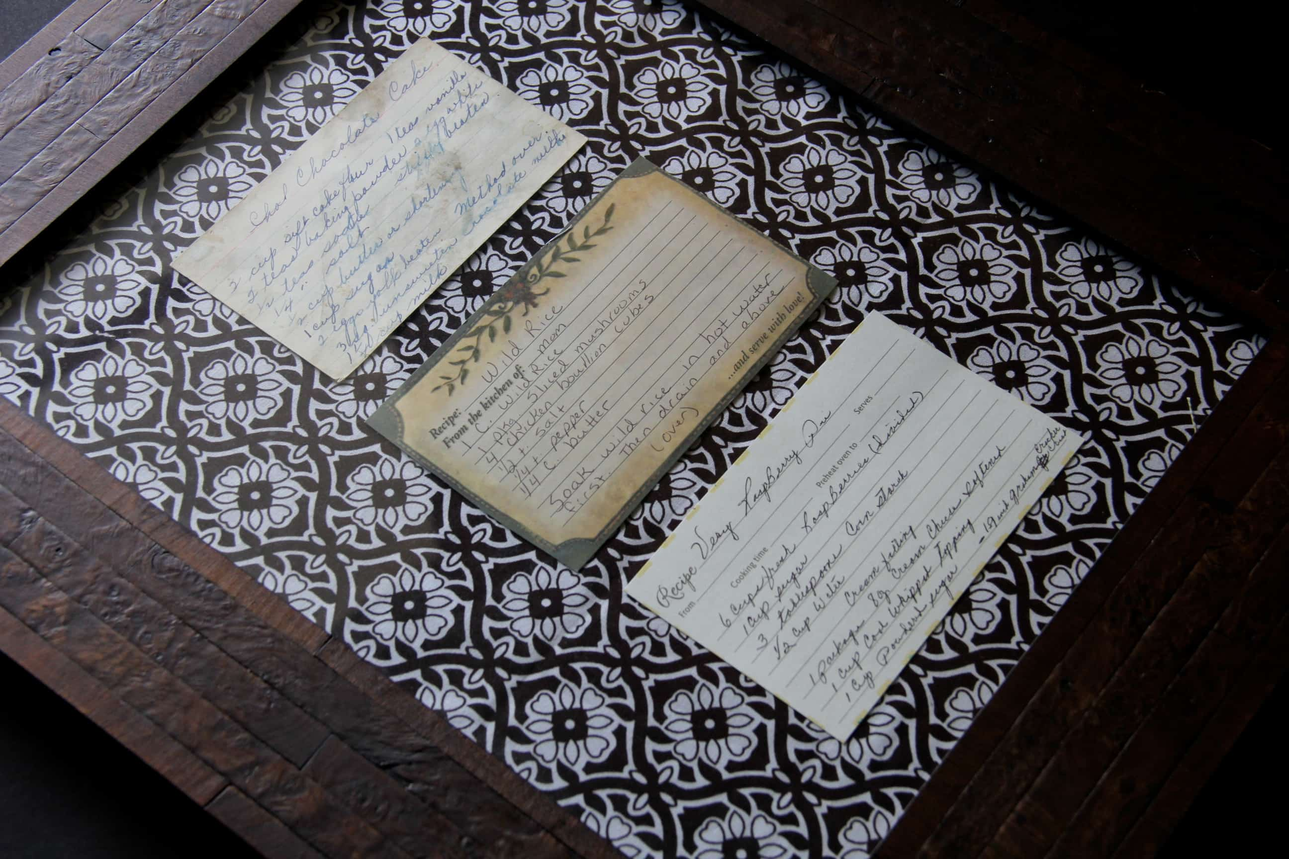 Family Heirloom Recipes Framed on Fabric