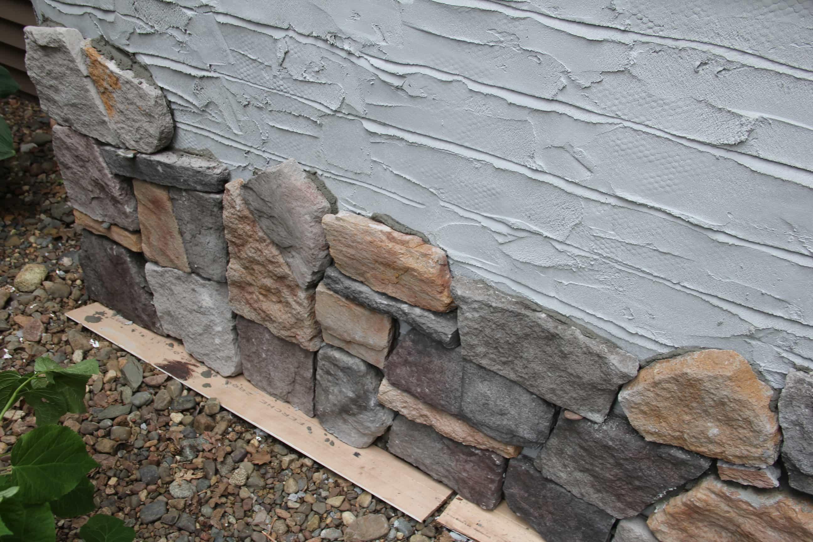 DIY Stone Veneer on House Exterior