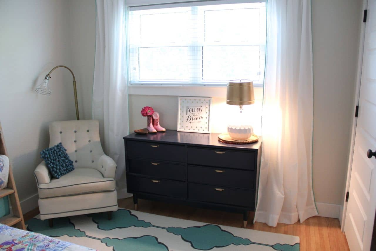 Teal, Pink, Navy, and Gold Vintage Modern Girls Room
