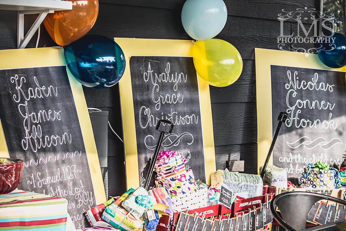 Baby Shower Diaper Wagons with Chalkboard Signs