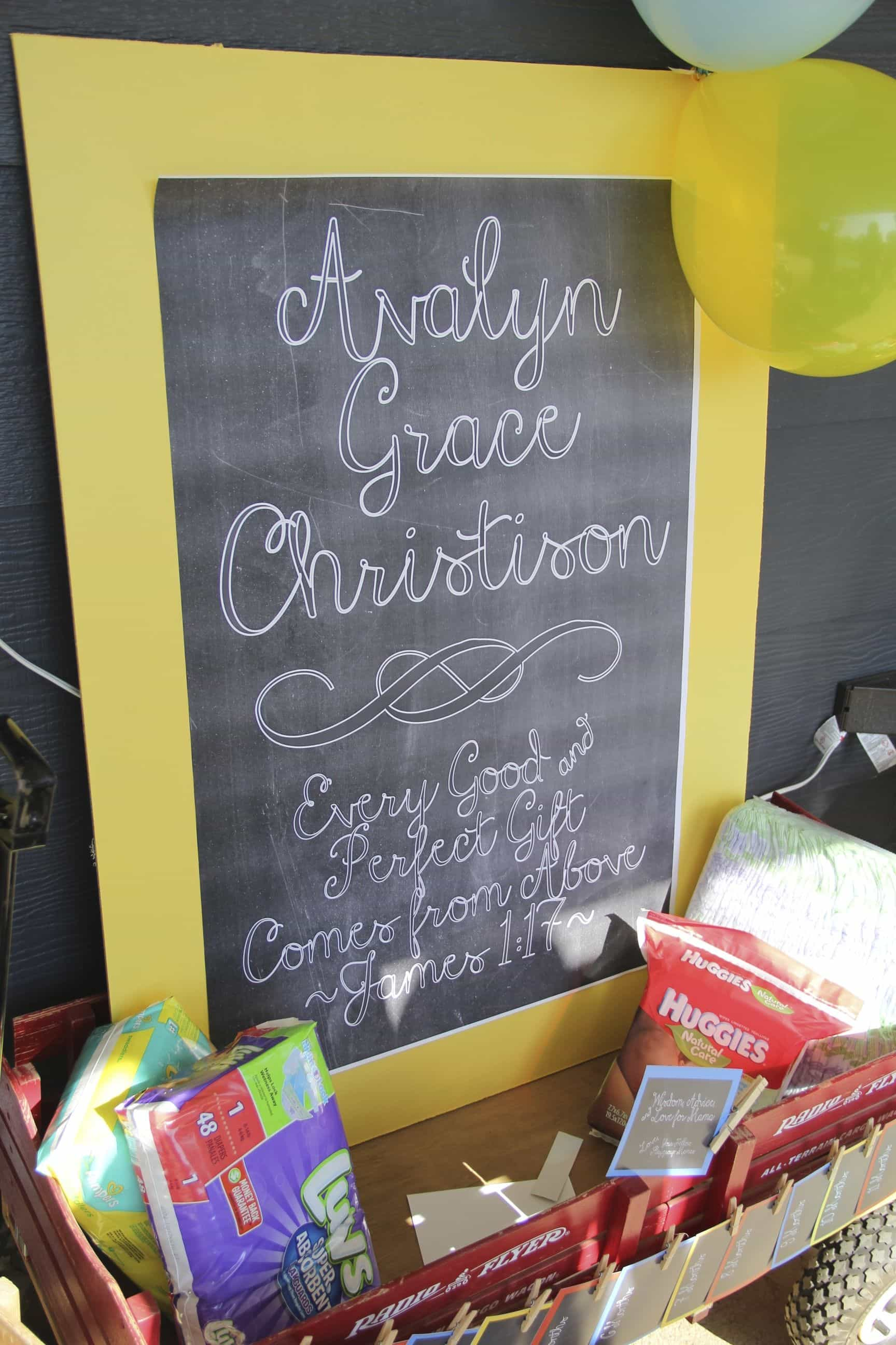 Yellow Chalkboard Engineer Print for Baby Shower