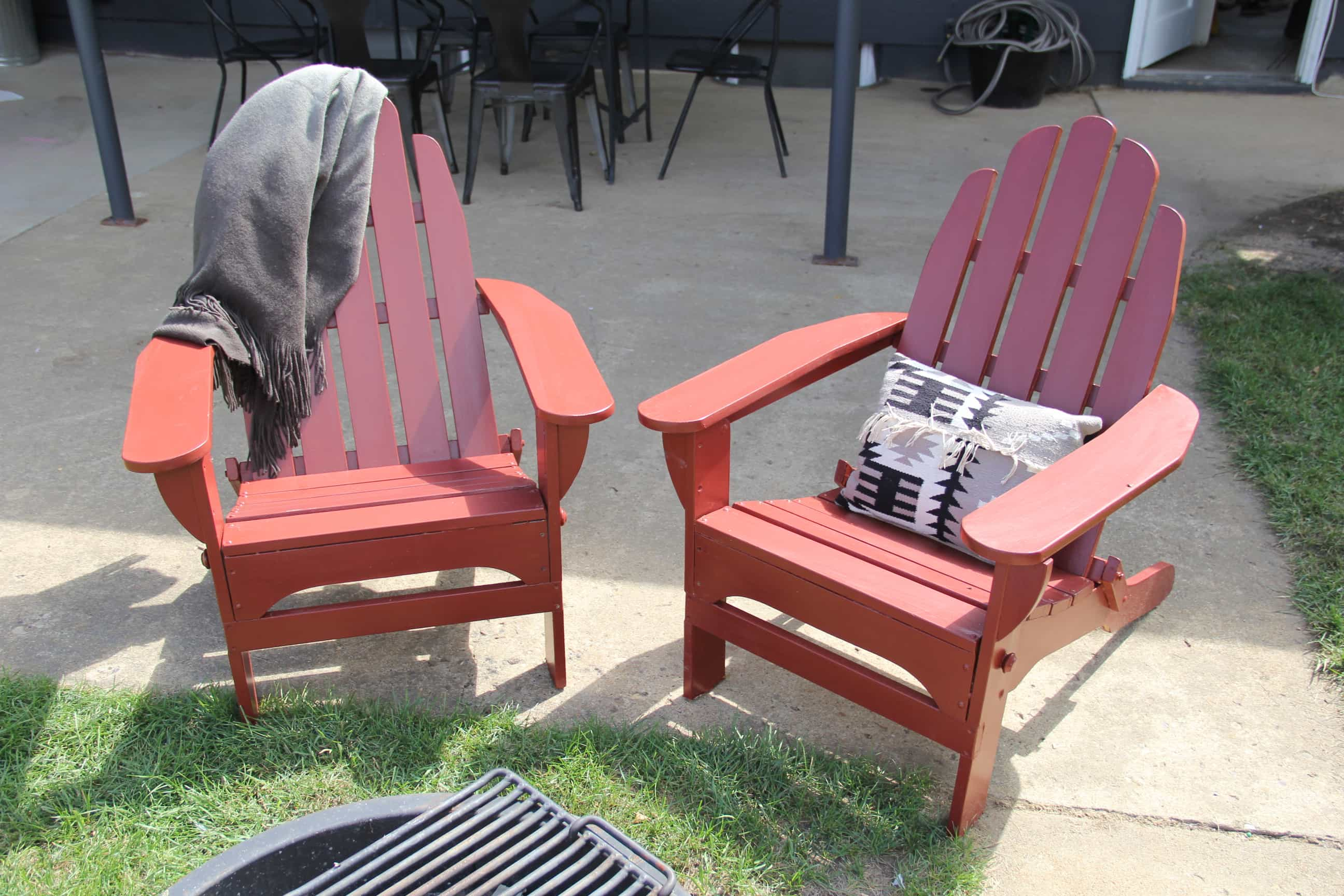"A ""pop"" of red Painted Adirondack Chairs"
