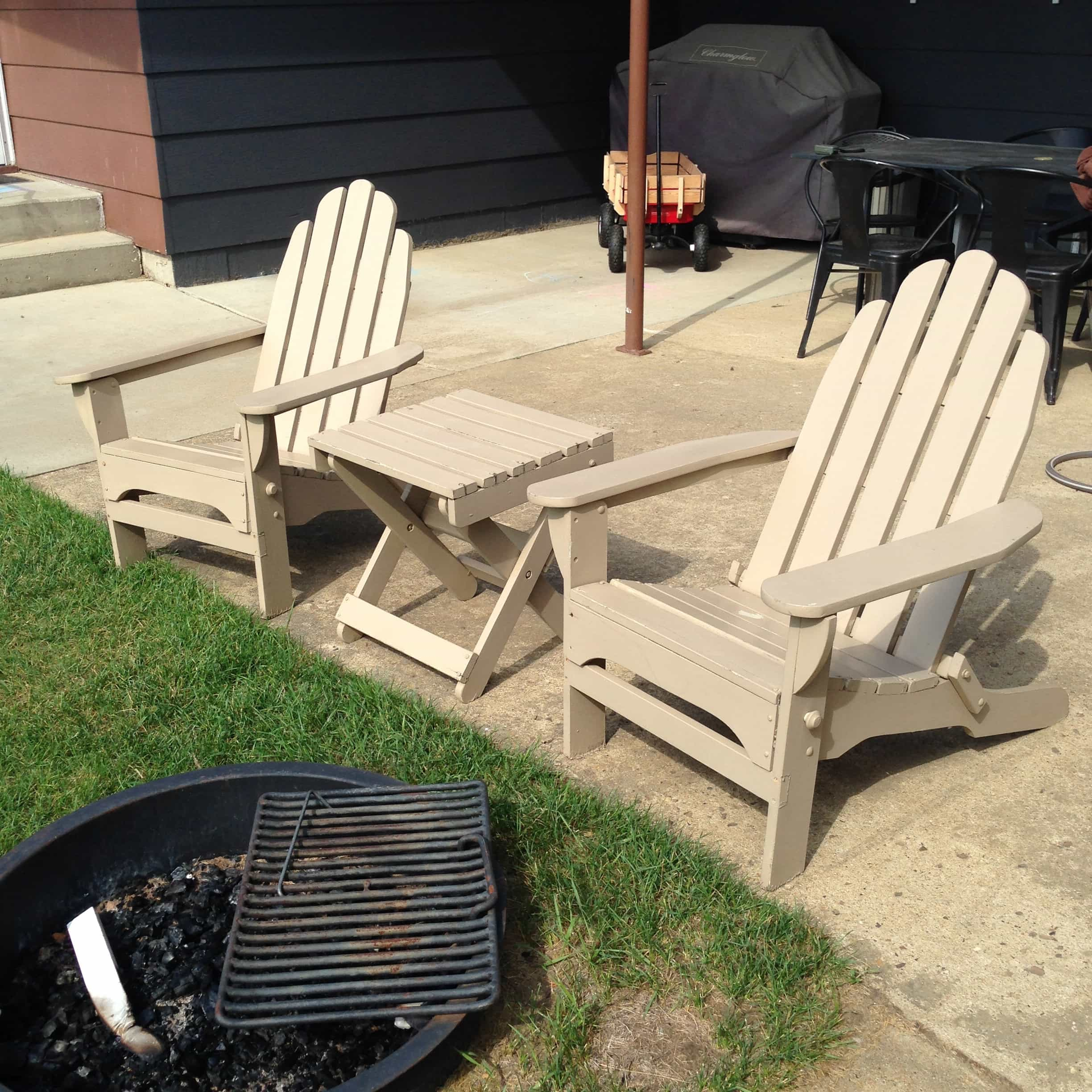 I Picked These Tan Peeling Adirondack Chairs And Table At A Garage Sale For  Only $20! Donu0027t Mind The Brown And Black Two Tone House In ...
