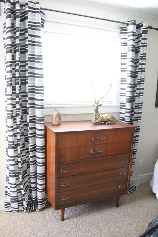 Mid Century vintage wood dresser in Master Bedroom