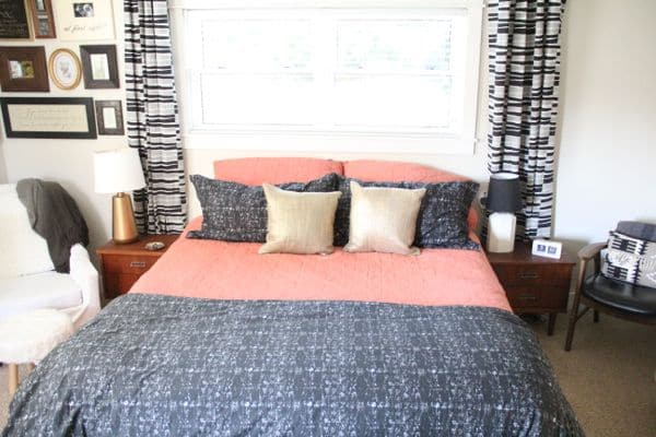 West Elm Bedding with Thrifted Mid Century nightstands