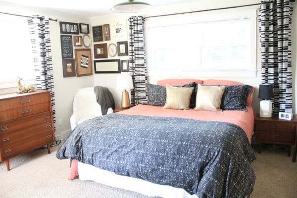 Vintage Modern Master Bedroom from West Elm, Ikea, and Thrfited