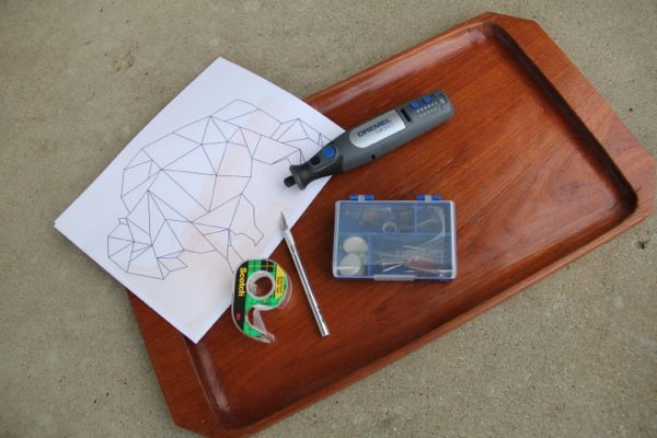 Geometric Bison Etched Tray - 05