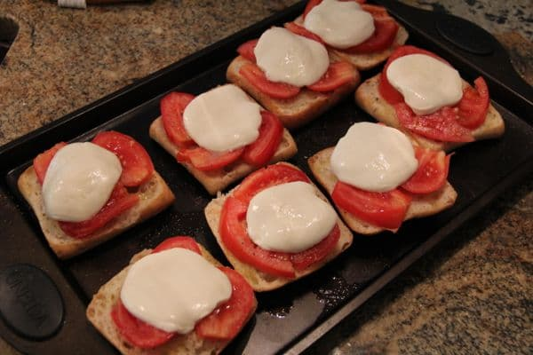 Simple 5 minute bruschetta with tomato, basil, and mozzarella