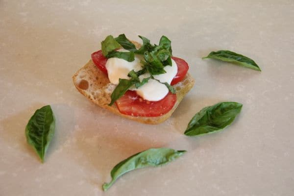 Bread with Tomato, Cheese, and Basil