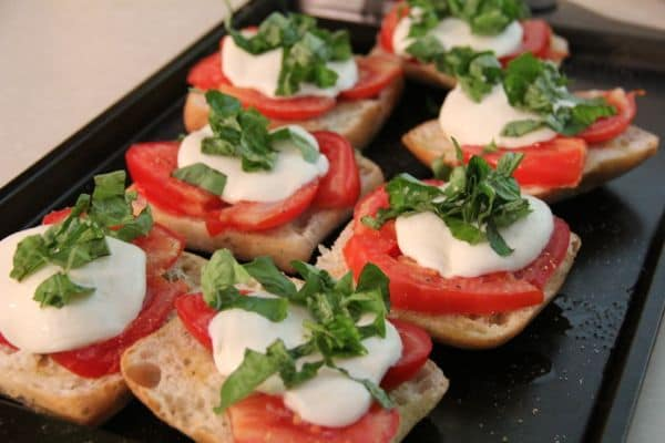 Garden Fresh Bruschetta with basil, tomato, and mozarella