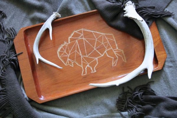 DIY Etched Geometric Design on Wood Tray using Dremel Micro