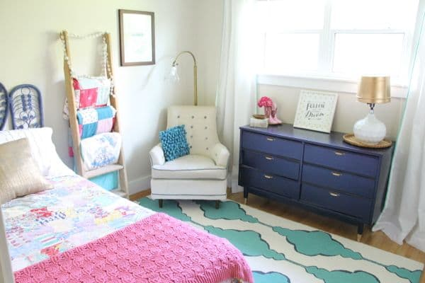 Vintage Modern Pink and Navy Girl's Bedroom