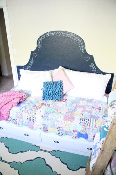 Vintage Modern Girl's Bed with Pink and Navy