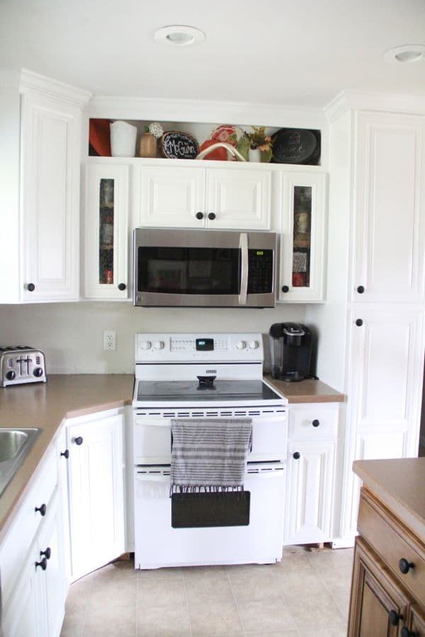 How to build open shelving above cabinets for custom look for Building custom kitchen cabinets