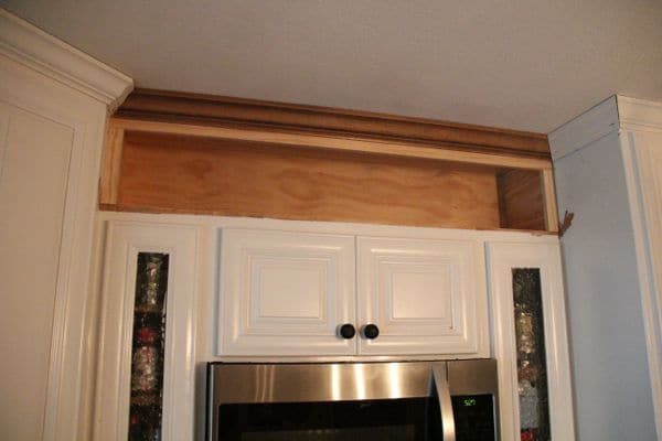 cutting crown molding for kitchen cabinets how to build open shelving above cabinets for custom look 9530