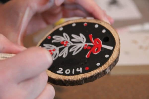 Chalkboard Wood Slice Ornaments