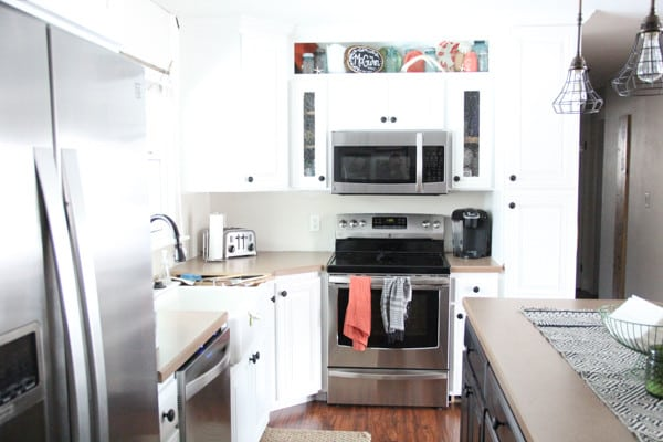 Kenmore Elite Stainless Appliances with White Cabinets