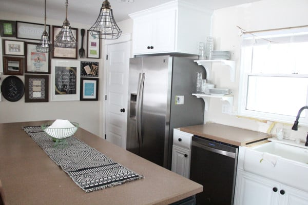 Stainless appliances with Painted White Cabinets