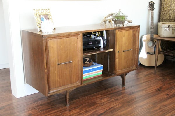 Mid Century Credenza used as TV stand