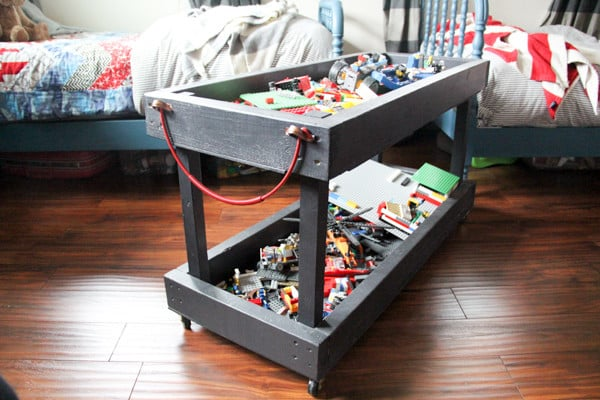 Two Tier Wood DIY Lego Tray with Wheels