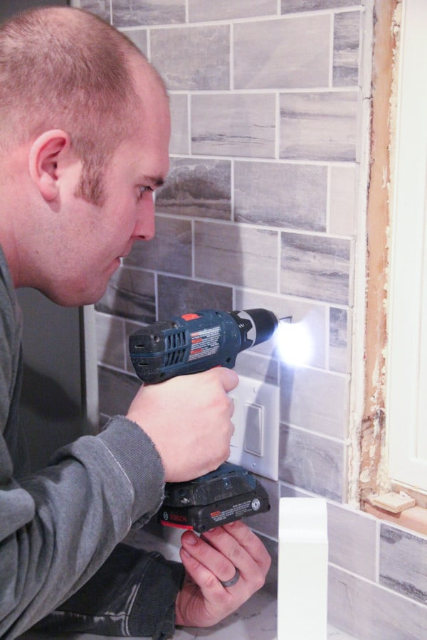 Drilling into tile for shelves