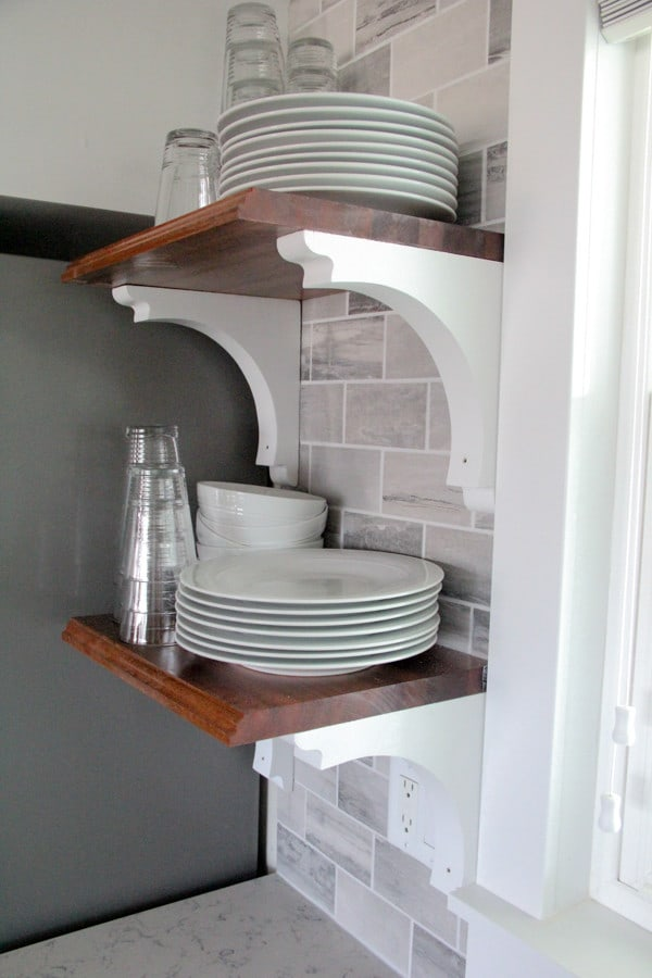 Butcher Block Open Kitchen Shelving