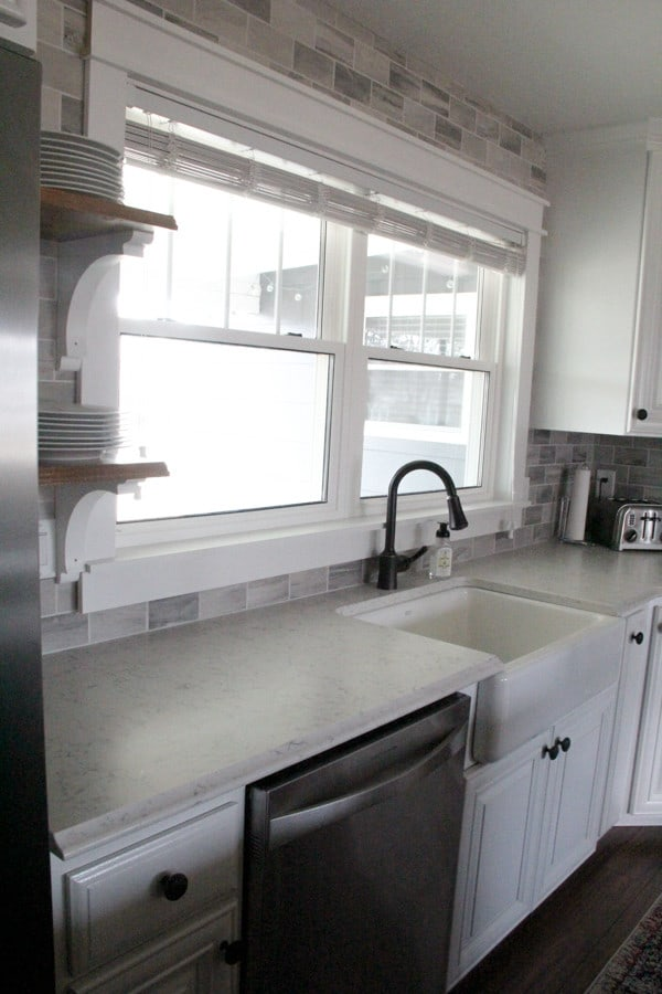 Kitchen Open Shelving with White and Butcher Block