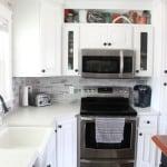 White Counters and Gray Subway Tile Backsplash