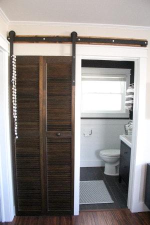Modern Bathroom with Industrial Barn Door