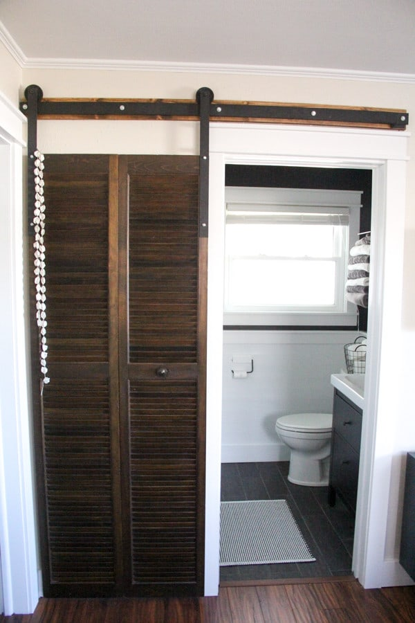 Modern Bathroom with Industrial Barn Door