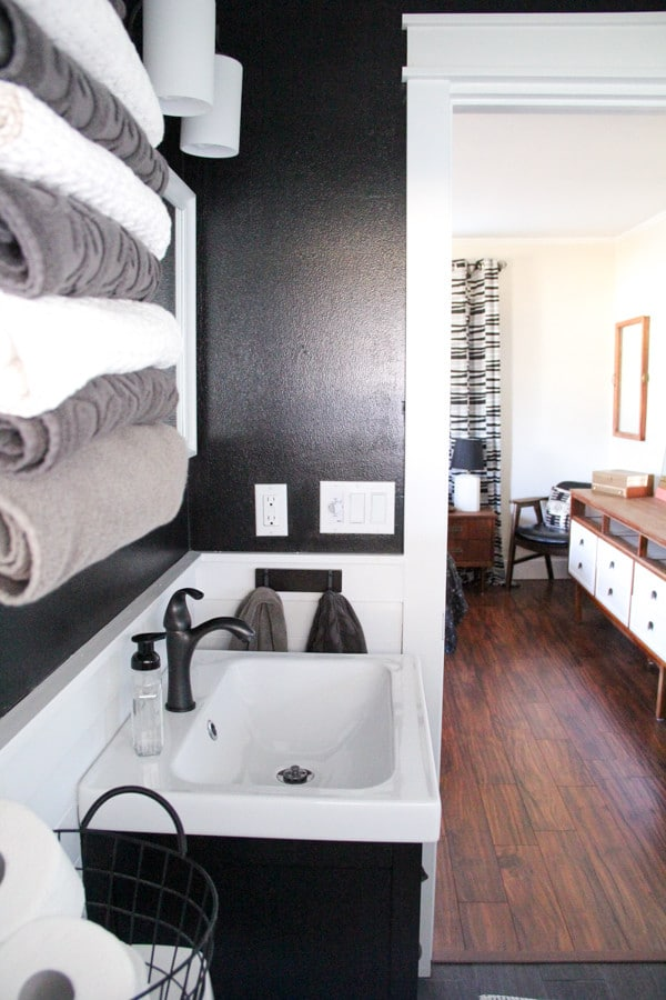 Modern Bathroom With Black Walls