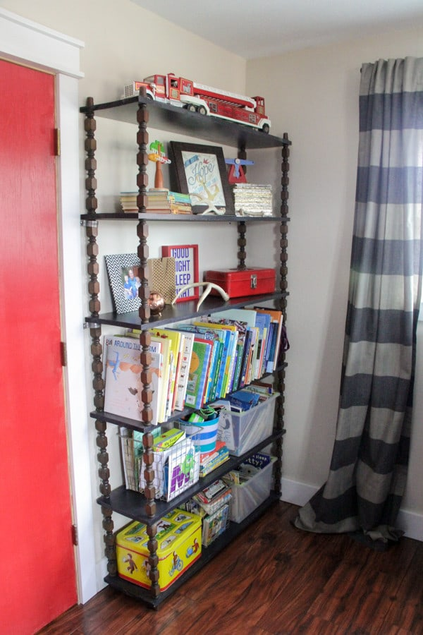 Vintage Wood Spindle Shelving for Kids Room