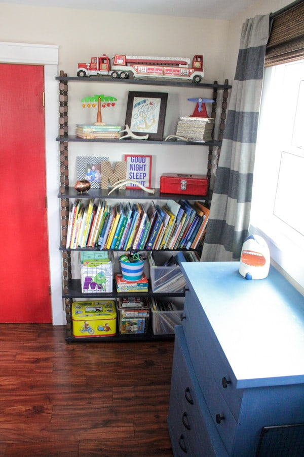Vintage Modern Book Storage in Kids Room