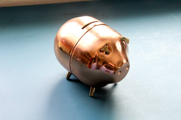 Vintage Copper Pig Piggy Bank