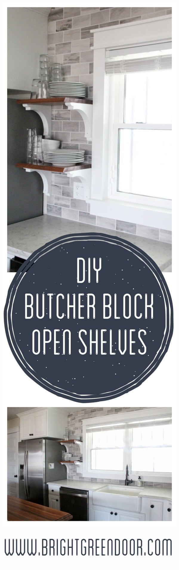 DIY Butcher Block Kitchen Open Shelving