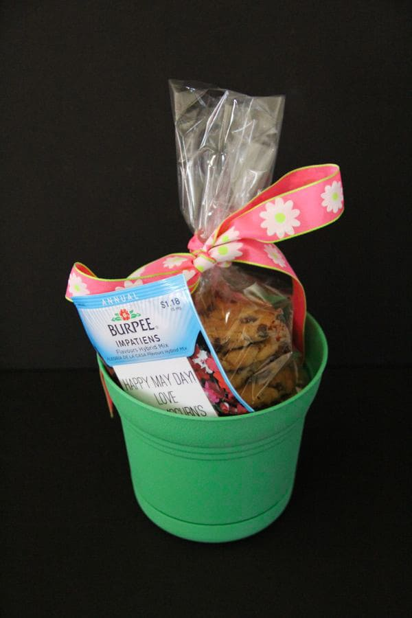 May Day Basket with Cookies and Flowers