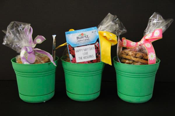 May Day Baskets with Cookies in Flower Pots