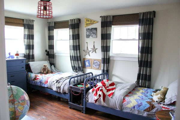 Boys Shared Room with Striped Curtains and Jenny Lind Beds
